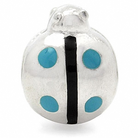 AUTH Nagara Enamel 925 Sterling Silver LADYBUG Threaded European Bead