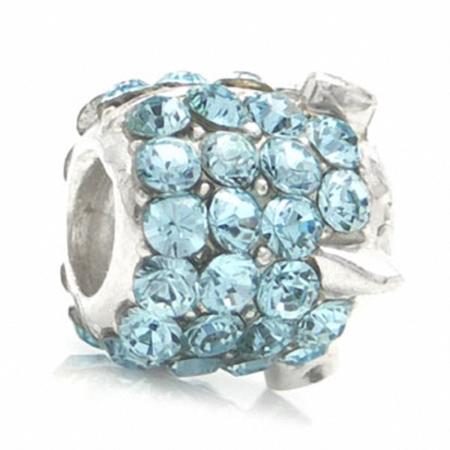 AUTH Nagara ROCKET Blue Crystal 925 Sterling Silver Threaded European Charm Bead