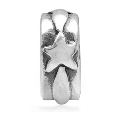 925 Sterling Silver STAR Spacer Threaded European Charm Bead