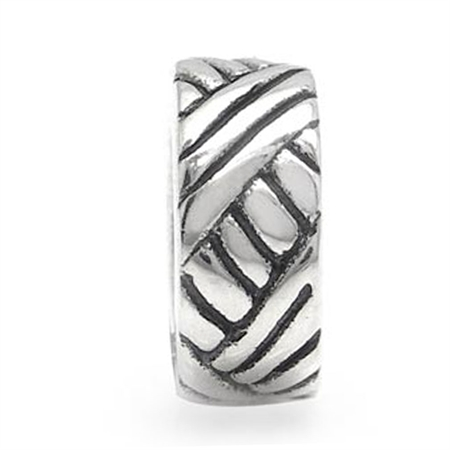 925 Sterling Silver WEAVE Spacer Threaded European Charm Bead