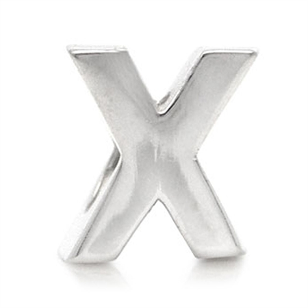 Initial X 925 Sterling Silver Threaded European Charm Bead