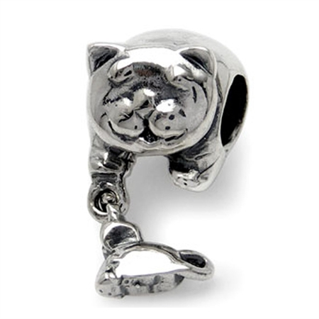 925 Sterling Silver CAT & MOUSE Dangle Threaded European Charm Bead