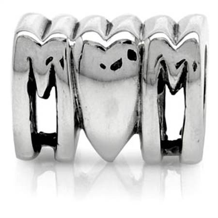 925 Sterling Silver I LOVE MOM Threaded European Charm Bead