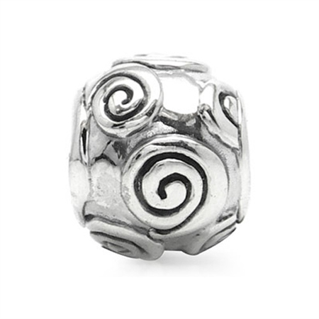 925 Sterling Silver Spiral Threaded European Charm Bead