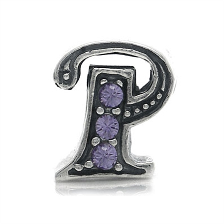Tanzanite Crystal 925 Sterling Silver Initial - P Threaded European Charm Bead