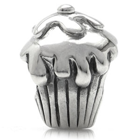 AUTH Nagara 925 Sterling Silver CUP CAKE Threaded European Charm Bead