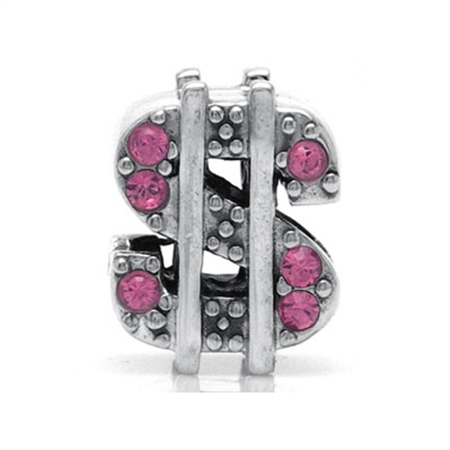 Rose Pink Crystal 925 Sterling Silver $ DOLLAR Threaded European Charm Bead