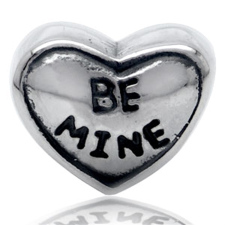 AUTH Nagara BE MINE HEART Silver Threaded European Charm Bead