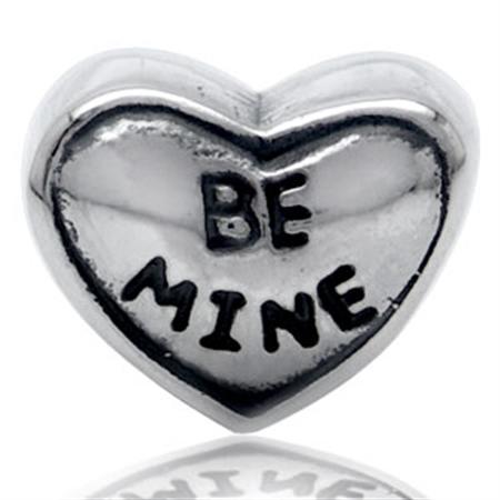 AUTH Nagara BE MINE HEART Silver Threaded European Charm Bead