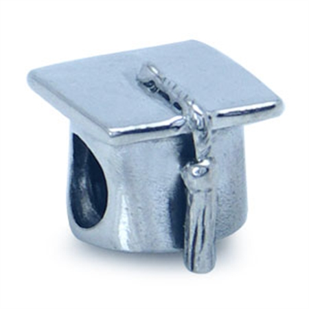 AUTH Nagara 925 Sterling Silver GRAD CAP Threaded European Charm Bead