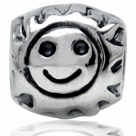 925 Sterling Silver SUN Threaded European Charm Bead