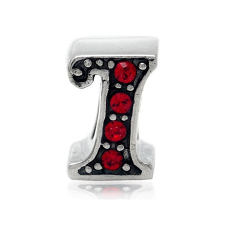 AUTH Nagara Crystal 925 Sterling Silver Initial - I Threaded European Bead