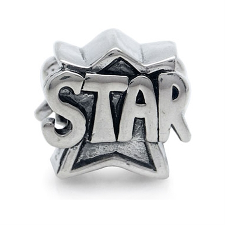 925 Sterling Silver STAR Threaded European Charm Bead