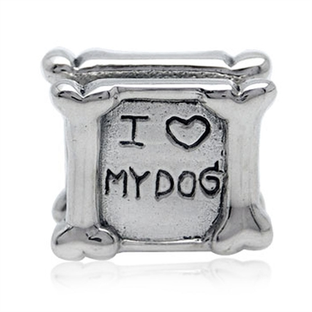 925 Sterling Silver I LOVE MY DOG Threaded European Charm Bead
