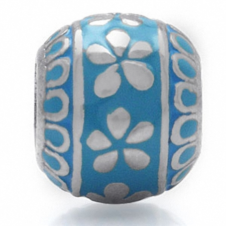 Blue Enamel 925 Sterling Silver Flower Threaded European Charm Bead
