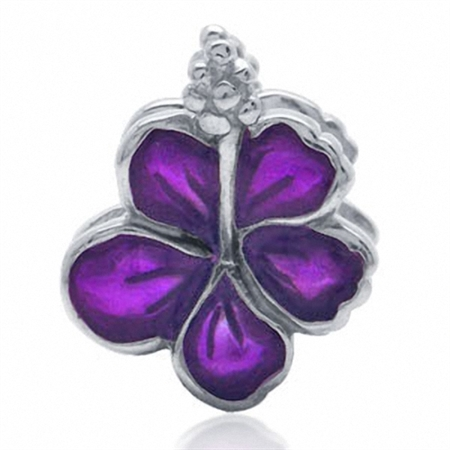 Nagara Purple Enamel 925 Silver FLOWER Threaded European Charm Bead