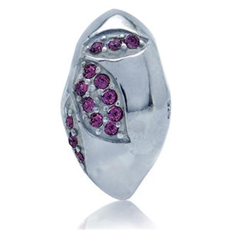 AUTH Nagara Crystal Silver Threaded European Charm Bead / Pendant