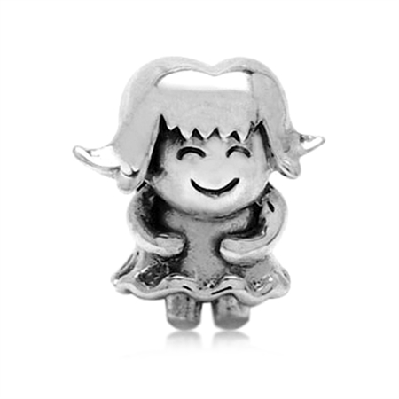 AUTH Nagara Sterling Silver HAPPY GIRL European Charms Screw Bead