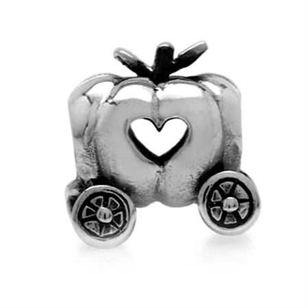 AUTH Nagara 925 Sterling Silver PUMPKIN Chariot European Charms Screw Bead