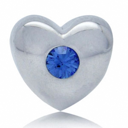 Sapphire Blue Crystal 925 Silver Heart Threaded European Bead