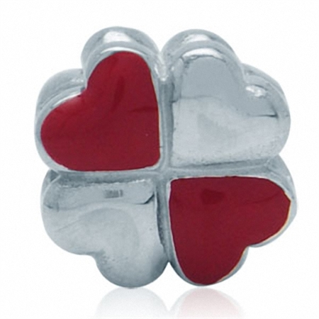 Red & White Enamel 925 Sterling Silver Four-Leaf Clover Heart Threaded European Charm Bead