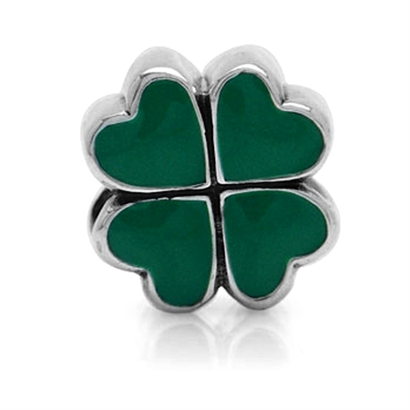 AUTH Nagara Green Enamel Sterling Silver Heart European Charms Screw Bead