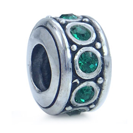Emerald Green Crystal 925 Sterling Silver Spacer Threaded European Charm Bead