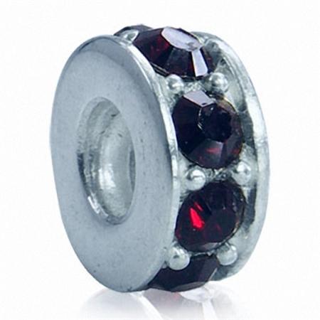Garnet Red Crystal 925 Sterling Silver Threaded European Charm Bead