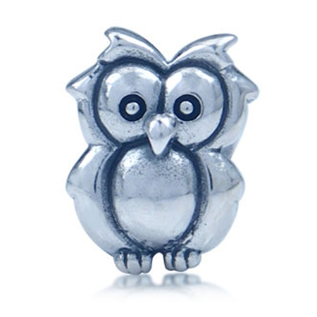 925 Sterling Silver OWL Threaded European Charm Bead