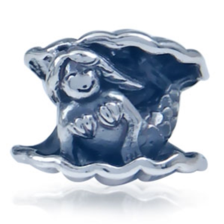 925 Sterling Silver MERMAID Threaded European Charm Bead