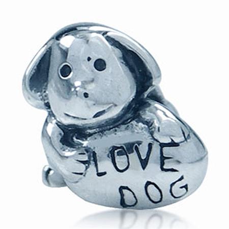 925 Sterling Silver LOVE DOG Threaded European Charm Bead