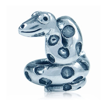 925 Sterling Silver SNAKE Threaded European Charm Bead