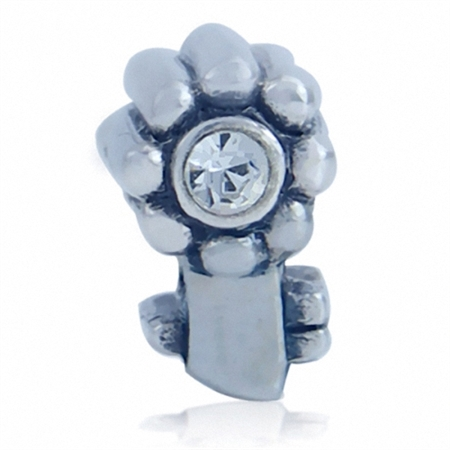 White Crystal 925 Sterling Silver Flower Key Threaded European Charm Bead
