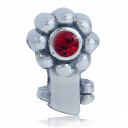 Red Crystal 925 Sterling Silver Flower Key Threaded European Charm Bead