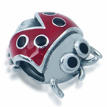 Red & Black Enamel 925 Sterling Silver LADYBUG Threaded European Charm Bead