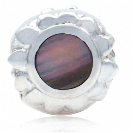 Black Mother Of Pearl 925 Sterling Silver SUNFLOWER Threaded European Charm Bead