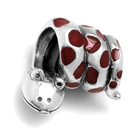 Red Enamel 925 Sterling Silver SNAKE Threaded European Charm Bead