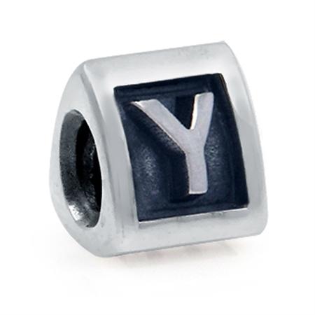 925 Sterling Silver Alphabet Letter Y Threaded European Bead