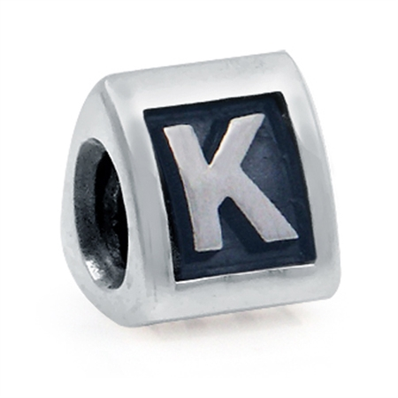 925 Sterling Silver Alphabet Letter K Threaded European Bead