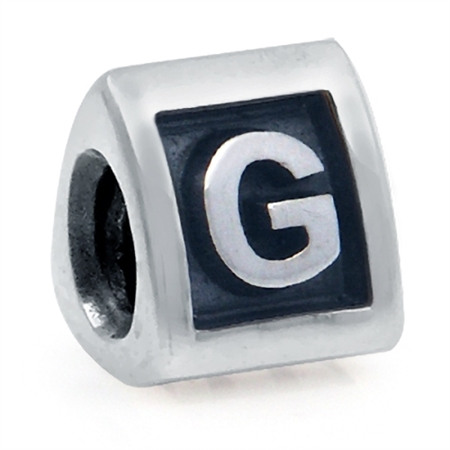 925 Sterling Silver Alphabet Letter G Threaded European Bead