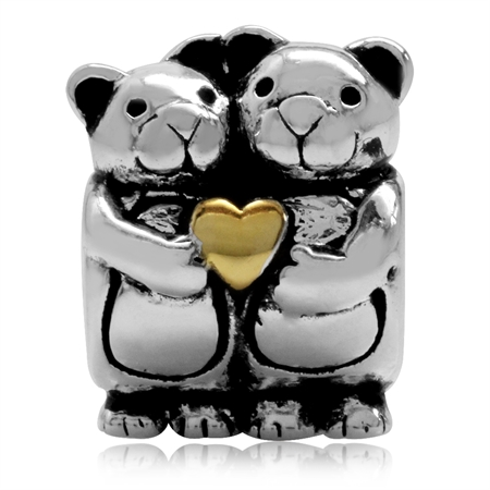14K Gold Plated 925 Sterling Silver Bear Lovers Threaded European Charm Bead