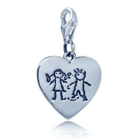 Sterling Silver BOY&GIRL Heart Charm