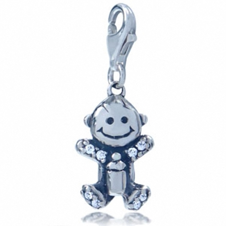 Adorable White Cubic Zirconia (CZ) Sterling Silver Baby Dangle Charm