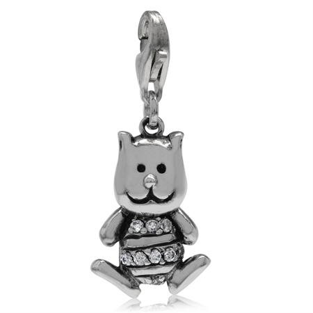 Lovely White Cubic Zirconia (CZ) Sterling Silver Puppy Dangle Charm