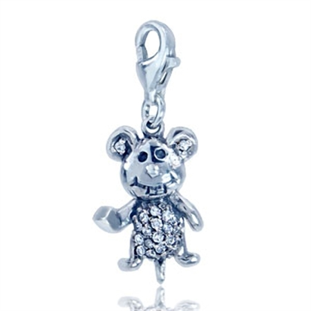 White CZ 925 Sterling Silver Mouse Dangle Charm