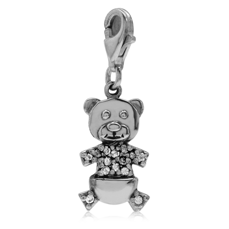 White CZ 925 Sterling Silver TEDDY BEAR Dangle Charm
