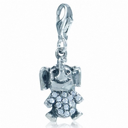 Cute White Cubic Zirconia (CZ) Sterling Silver Elephant Dangle Charm
