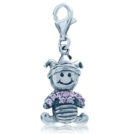 Adorable Pink Cubic Zirconia (CZ) Sterling Silver Baby Dangle Charm