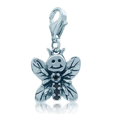 Lovely Black Cubic Zirconia (CZ) Sterling Silver Butterfly Dangle Charm