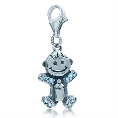 Adorable Topaz Blue Cubic Zirconia (CZ) Sterling Silver Baby Dangle Charm